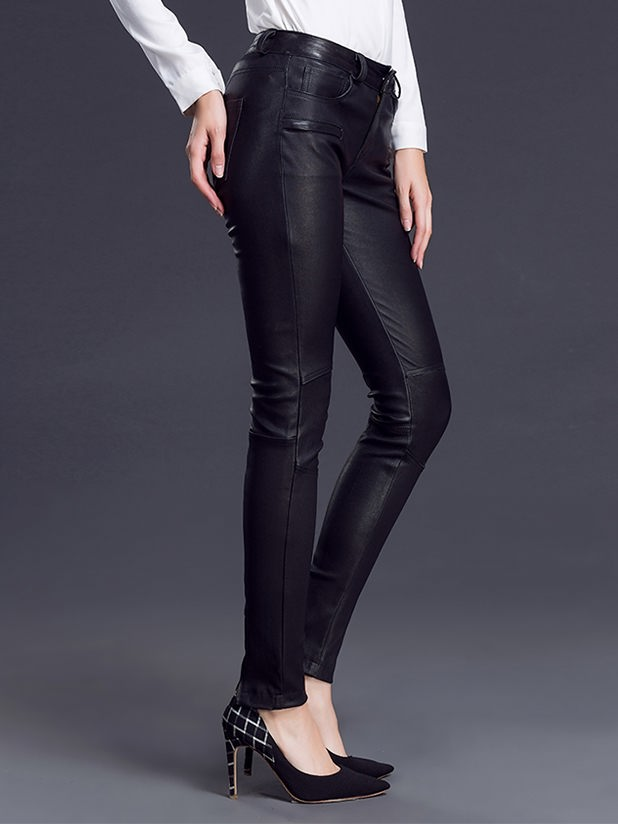 Close-fitting leather womens trousers production