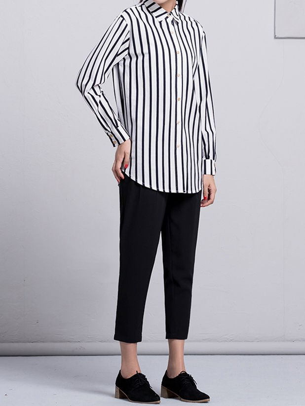 Customize lapel striped shirts for women