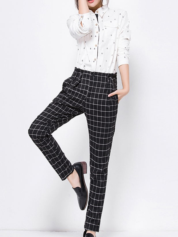 Customize womens trousers squares pattern