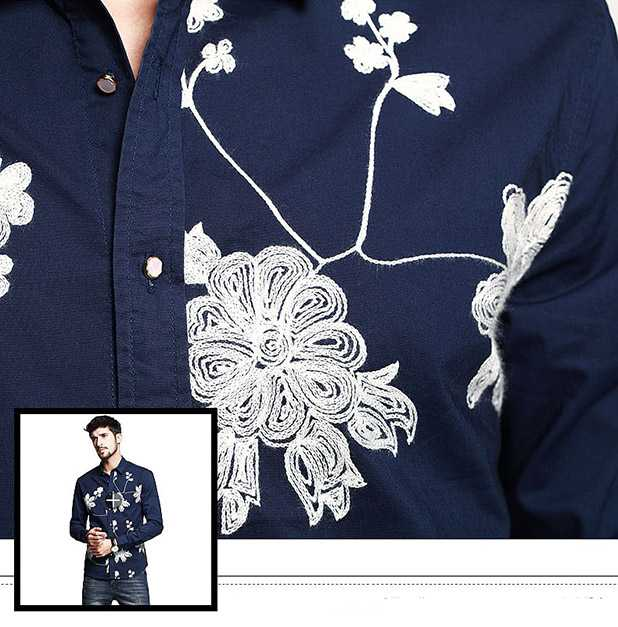 Embroidered shirts single color complex pattern