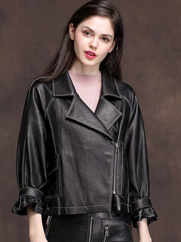 women leather jacket slant zipper style